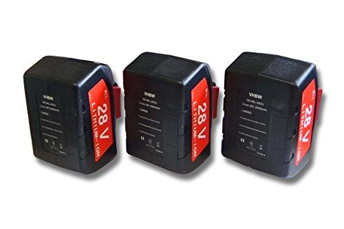 vhbw 3x Li-Ion batería 2000mAh (28V) para herramientas Milwaukee V28 H batería de taladradora etc. por 48-11-1830, 48-11-2830, 48-11-2850.