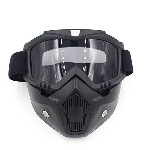 Spohife Mortorcycle Maske Abnehmbaren, Motorrad Schutzbrille Staubschutz Brille mit abnehmbar Gesichtsmaske Winddicht für Outdoor Fahrrad Dirtbike Motocross Off-Road Goggle(Grau)