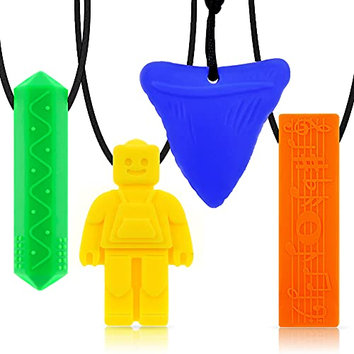 Chew Necklaces for Sensory Kids,Pendant Chewable Jewelry Set for Boys and Girls,Silicone chewlery Oral Motor Sticks for Kids with ADHD, Anxiety,Teething, Autism, Biting Needs(4 Pack)