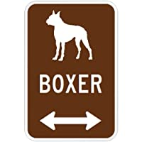 BOXER マグネットサイン ブラウン:ボクサー(小) シルエットイラスト&矢印 英語標識デザイン Water Resistant&UV Coat U.S.