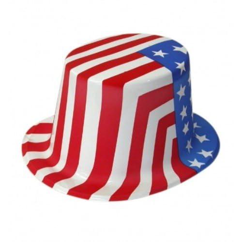 06b46ca3894c Plastic USA Top Hat Stars & Striped for Uncle Sam American Fancy Dress  Accessory