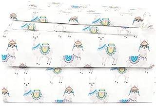 J.H. Bed Sheet Set Llamas Wearing Hats and Sunglasses Novelty Decor (Queen)