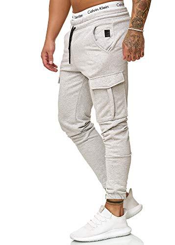 OneRedox Herren Jogging Hose Jogger Streetwear Sporthose Modell 1213 (S, Grau)