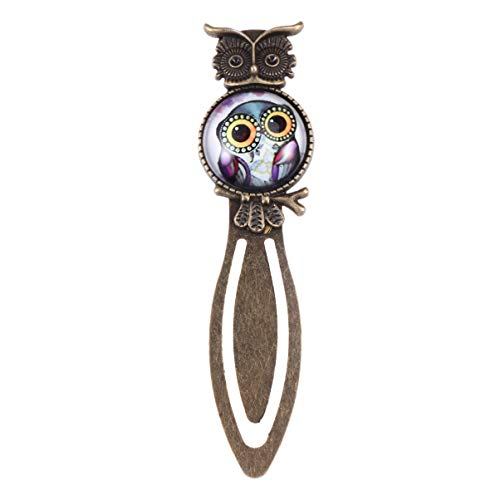 UEETEK Metal Night Owl Clip Bookmark Marker Reading Gift with Crystal Glass