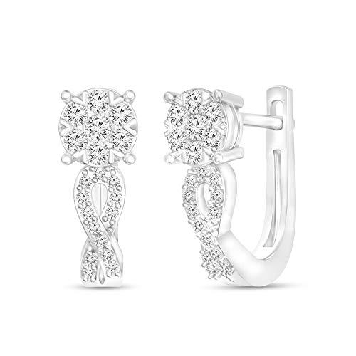 SLV Pendientes de aro con diamante de corte redondo T.W. D/VVS1 para niñas, chapados en oro blanco de 10 quilates con plata 925
