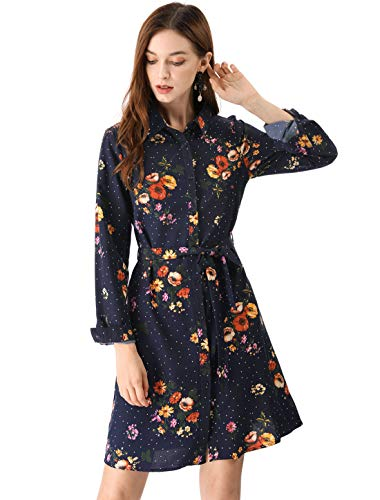 Allegra K Women's Lapel Button Down Belted Above Knee Vintage Polka Dots Floral Shirt Dress XS Dark Blue