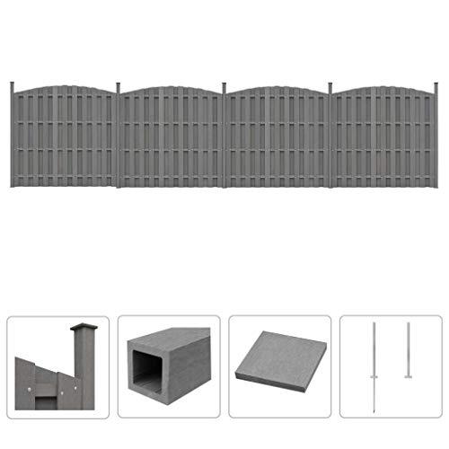 Festnight WPC Zaun-Set | Zaunpaneel-Set | Gartenzaun | Sichtschutzzaun | Dichtzaun | Zaunelemente | Windschutz Zaun | Grau 4 Geschwungen 747 x (165-185) cm