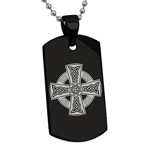 Tioneer Black Stainless Steel Celtic Cross Rune Knot Symbol Dog Tag Pendant Necklace