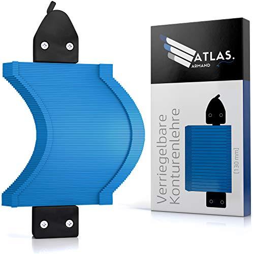 ATLAS ARMAND Konturenlehre mit Feststeller [130mm x 40mm] – Konturmessgerät als Profillehre & Vervielfältigungslehre für Laminat, Fliesen, Parkett uvm.- Formenzeichner zum duplizieren von Konturen