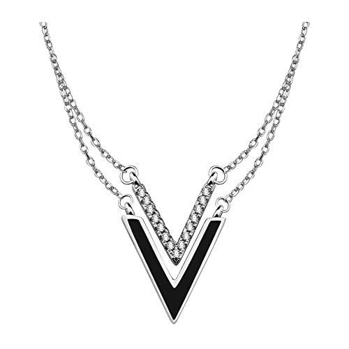 SOFIA MILANI Collar Mujer Doble Cadena Colgante Triangulo Plata de Ley 50232