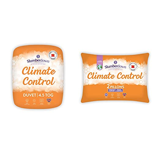 Slumberdown Climate Control Single Duvet 4.5 Tog Summer Duvet Single Bed & Climate Control White Pillows 2 Pack Medium Support Bed Pillows Designed for Back and Side Sleepers