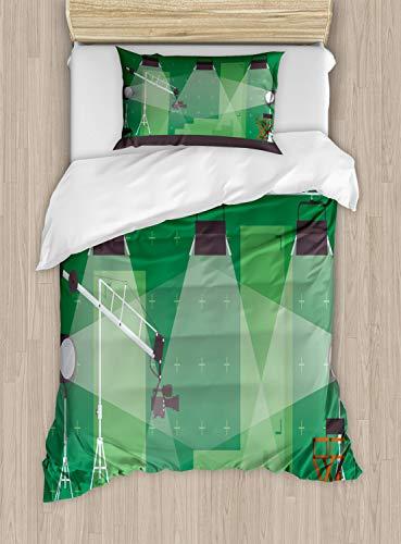ABAKUHAUS Tv programma Dekbedovertrekset, Movie Studio Stage Cartoon, Decoratieve 2-delige Bedset met 1 siersloop, 130 cm x 200 cm, Taupe Grijs Groen