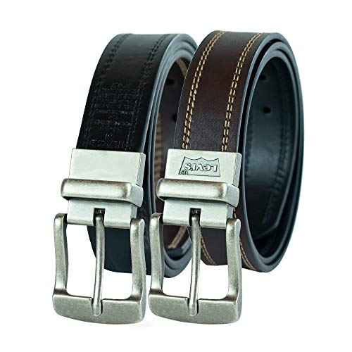 Levi's Men's 1 1/2 in.Cut Edge Reversible Belt, Medium(34-36), Brown/black