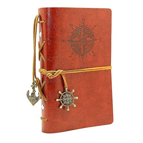 Diario di viaggio, diario di bordo, HRYSPN diario di viaggio in pelle ad anelli, Pirata depoca ancoraggio, motivo bussola e ciondolo sul retro. Brown (A6 18.5 * 13CM)