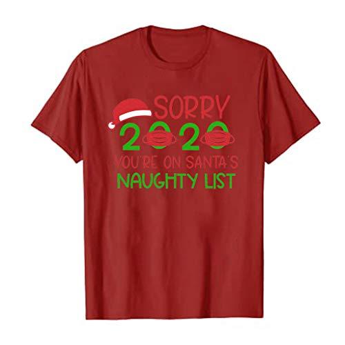 Pwtchenty Damen Weihnachtsdruck T-Shirt Fun T-Shirt Weihnachtsfrauen Kurzarm lässig...