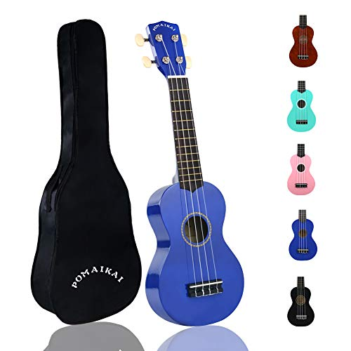 POMAIKAI Soprano Wood Ukulele kid Starter Uke Hawaii kids Guitar 21 Inch with Gig Bag for kids Students and Beginners (Dark blue)
