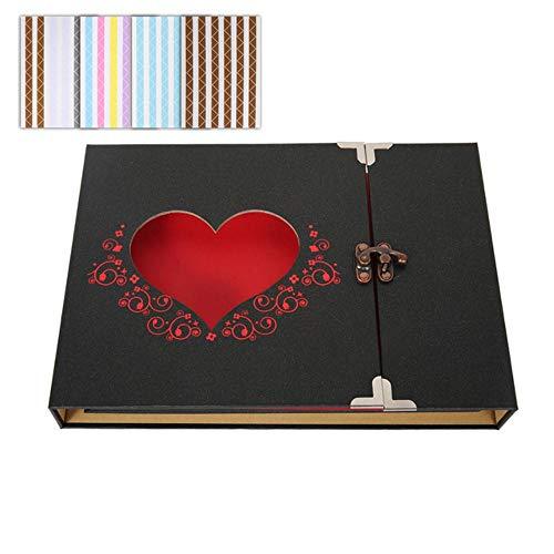 EDCV DIY Craft Album Plakboek Huwelijksverjaardag Foto's Collectie met doos Red Love Fotoalbum Zelfklevend plakboekpapier, fotoalbum