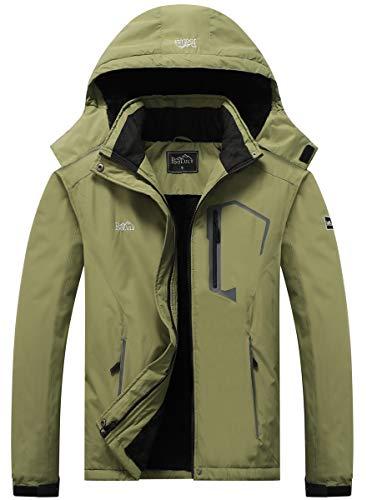 Pooluly Men's Ski Jacket Warm Winter Waterproof Windbreaker Hooded Raincoat Snowboarding Jackets Army Green