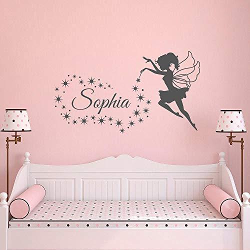 100x57cm hada soplando estrellas personalizada nombre Wall Decals Custom bebe niña de nombre vinilo Niños etiqueta de la pared, arte de la pared de la habitacion de los niños
