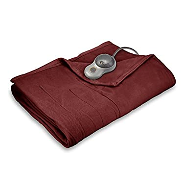 Sunbeam Quilted Fleece Heated Blanket with EasySet Pro Controller, Queen, Garnet