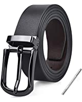 Mens Belt Leather Reversible Designer Adjustable Removable Buckle Jeans Casual Formal Belts For Men , 115CM(Waist 36-39 inch), Black&brown