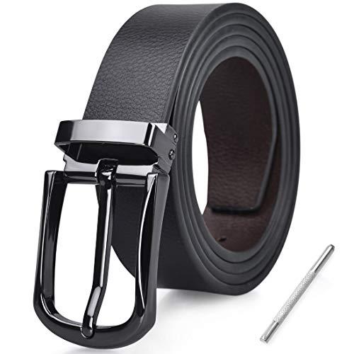 NUBILY Cintura Uomo Pelle Nero Marrone Reversibili Cinture da Uomo Della Di Cuoio Fibbie Cintura Casual Formali Elegante per Jeans Cintura 115CM
