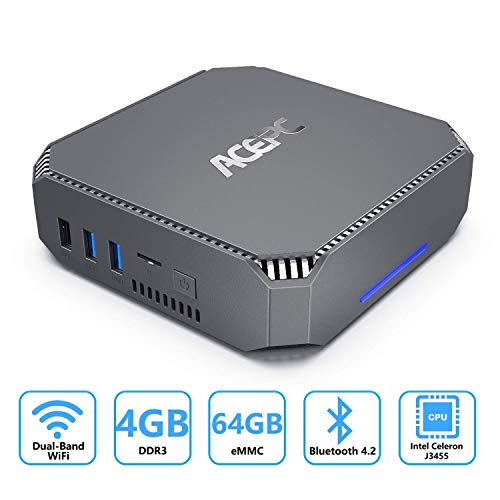 ACEPC Mini PC,Intel Celeron J3455 Window 10 Pro Tragbarer Mi