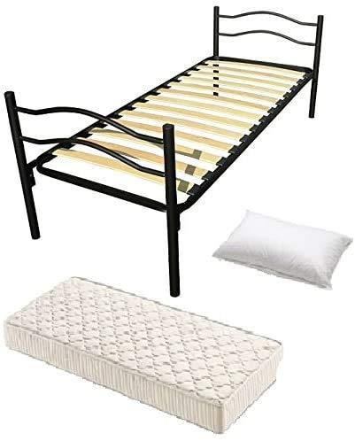 Cama individual de hierro, base de tablones, colchón, almohada, colchón de caucho clásico de lujo,Black