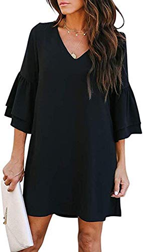 SVALIY Women's Chiffon V Neck Bell Sleeve Casual Loose Shift Party Mini Short Dresses Black