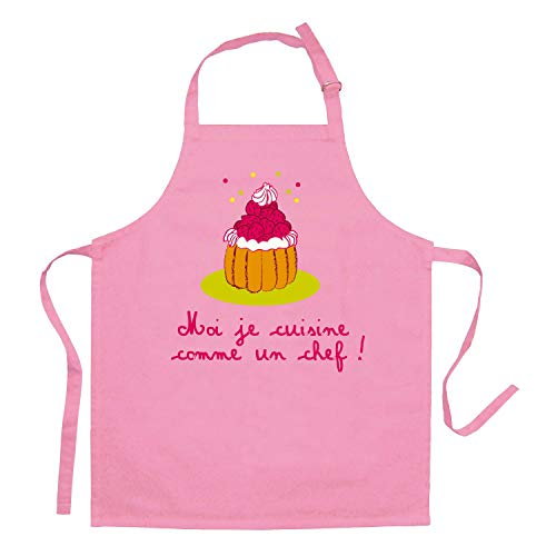 Tablier de Cuisine enfant - Je cuisine comme un chef ! 7 - 12 ans Rose