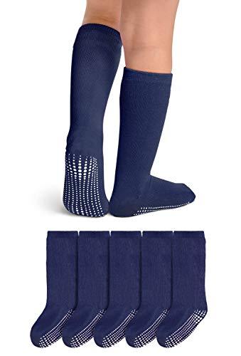 LA Active Knee High Grip Socks - 5 Pairs - Baby Toddler Non Slip/Skid Cotton (Navy Blue, 4-6 Years)