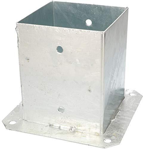 KOTARBAU® Aufschraubhülse 120 x 120 mm Vierkantholzpfosten Pfosten Bodenhülse Zaunträger Hülse Feuerverzinkt Bodenplatte Pfostenträger Anker