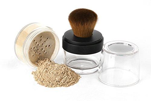 KABUKI JAR BRUSH & FOUNDATION (LIGHT TAN) Kit Mineral Makeup Full Size Set Bare Face Matte Sheer Powder Cover