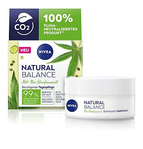 NIVEA Natural Balance Bio Hanfsamenöl Beruhigende Tagespflege (50 ml), Feuchtigkeitscreme mit Bio Hanfsamenöl, Jojoba- und Mandelöl, Gesichtscreme reduziert Rötungen