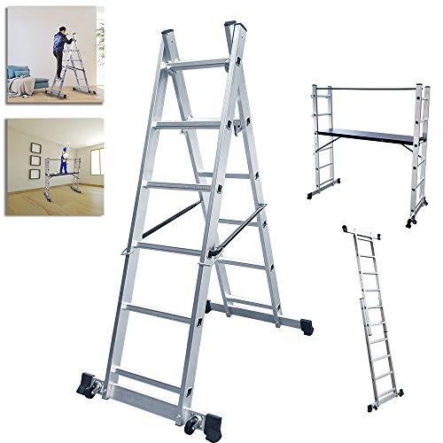 NAIZY Escalera de aluminio, andamio, plataforma de trabajo, plegable, soporta hasta 150...