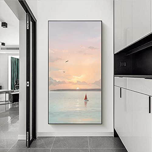Zeevogels Landschap Grote Canvas Muur Art voor Badkamer Slaapkamer Hal Esthetische, Grote Schilderijen Foto's voor…