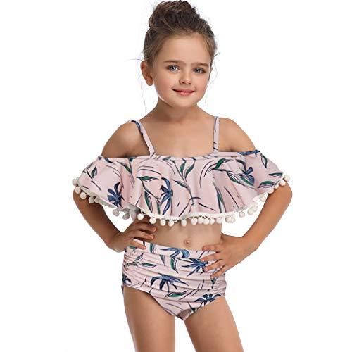 Zwempak voor Kinderen Baby Meisje Zwemkleding Onregelmatige Band Bikini Gebroken Strand Zwemmen Kinderen Badmode 6M-4Y Geel 80,90,100,110,120