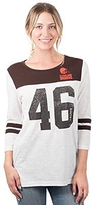 Ultra Game Women's NFL T Vintage 3/4 Long Sleeve Tee Shirt, White, Large