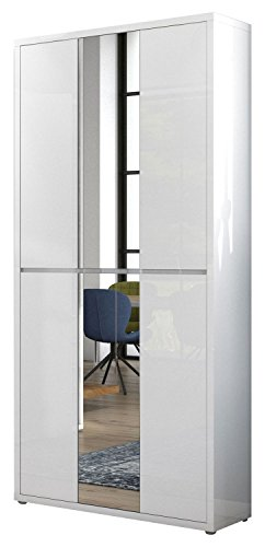 Schrank Mehrzweckschrank, B 102 cm, Weiß Hochglanz, Spiegel
