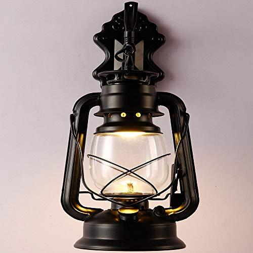 XL Kérosène Mur Lanterne Lumière Vintage En Métal Et Verre Applique Murale Lumières Pour Chambre Salon Salle À Manger Café Bar Couloir Décor (Couleur : A)