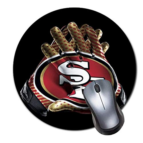 CASEOET Round Gaming Mouse Pad Custom Design, 8' Non-Slip Rubber Mousepad Mat for Desktops, Computer, PC and Laptops(Football San Francisco 49ers)