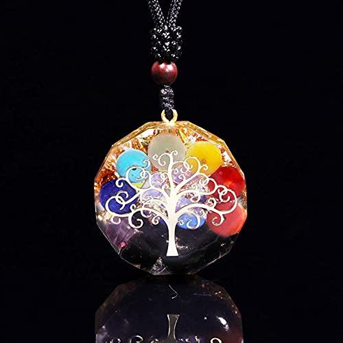 NIUBKLAS Colgante de árbol de la Vida Cristales de Riqueza Espiritual Curación Reiki Chakra Yoga Meditación Joyería