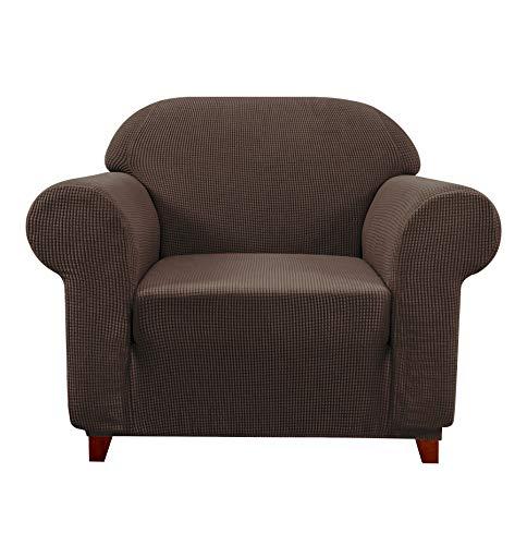 subrtex Spandex Sofabezug Stretch Couchbezug Sesselbezug Elastischer Antirutsch Sofahusse (1 Sitzer, Schokolade-1)