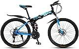 Erik Xian Road Bikes Folding Mountain Bike 26 inch Double Damping Off-Road/Variable Speed Mountain Bike Spoke Wheel Racing Bike City Commuter Bicycle (Color : Black Blue, Size : 30 Speed)