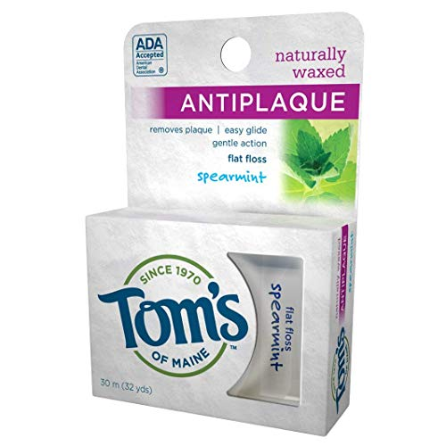 Toms Of Maine Naturally Waxed Antiplaque Flat Floss, Spearmint - 32 Yd ( Pack of 4 )
