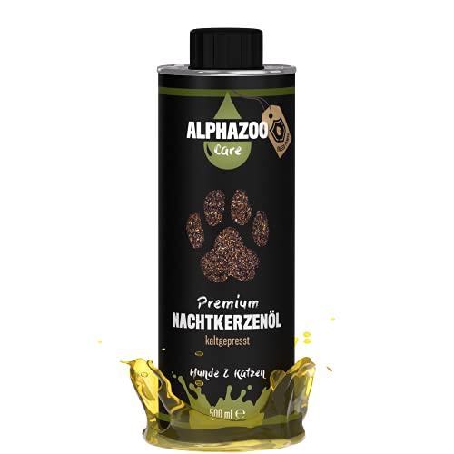 alphazoo Premium Nachtkerzenöl für Hunde & Katzen 500 ml, Premium Futteröl kaltgepresst Immunsystem, reich an Vitaminen & Mineralstoffen, Zusatz Barf-Futter, recyclebare Weißblechdose ohne BPA