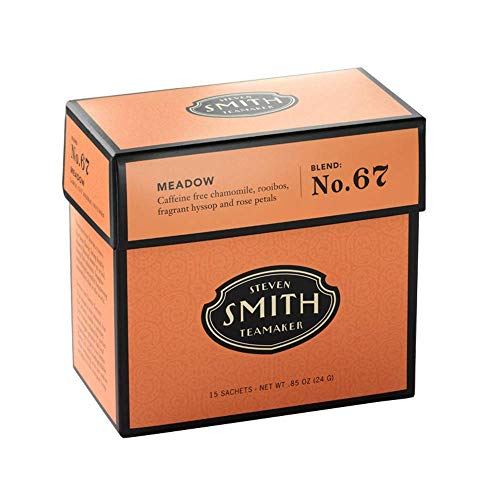 Smith Teamaker   Rooibos - Meadow No. 67 - Chamomile, Rooibos, Hyssop & Rose Petals   Sugar-Free, Non-GMO, Plant BasedCaffeine-Free Chamomile Blend Tea (15 Sachets, .85oz each)