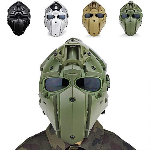 WLXW Terminator Taktische Vollgesichtsmaske und Integrierter Schneller Kampfhelm Mit Sonnenschutzbrille, Airsoft-Paintball-Jagdschutzausrüstung, CS-Kriegsspiele,Grün