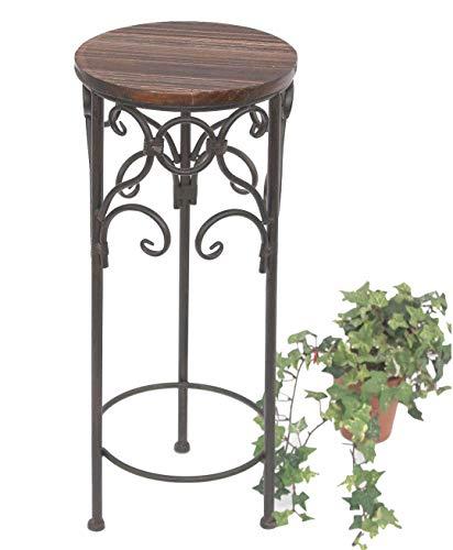 DanDiBo Blumenhocker Metall Braun Rund 58 cm Blumenständer 12590 Beistelltisch Pflanzenständer Holzablage Blumensäule