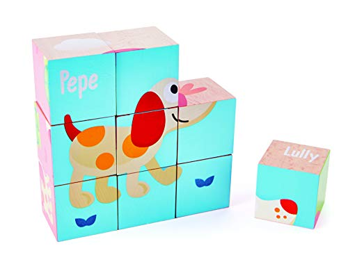 Hape- Friendship Blocks Set-Wooden Puzzle Toy-Suitable for 2 Years Bloques Pepe y Amigos, Multicolor (Barrutoys E0452)